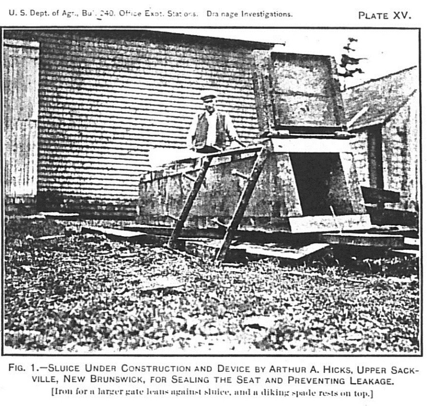 Arthur A Hicks and box sluice aboiteau (in Warren 1911)