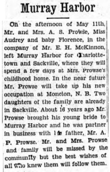 Newspaper - departure of A.S. Prowse and family