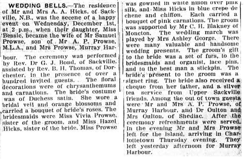 Newspaper wedding of Samuel Prowse and Bessie Hicks